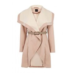 Primark Pale Pink Crombie coat, 32 ❤ liked on Polyvore featuring coats, jackets and outerwear