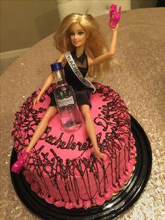 Bachelorette Cake - Drunk Barbie Barbie Bachelorette, Bachelorette Cakes, Adult Birthday Cakes, 21 Birthday, Drunk Barbie Cake, Drunk Girls, Cupcake Cakes, Cupcakes, Cake Designs