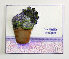 Card created with the Scrumptious Succulents and Blossom and Grow stamp sets from Chocolate Baroque. Postive Thoughts, Beads Direct, Baroque Design, How To Make Paper, Blank Cards, Paper Cutting, Paper Flowers, Cactus, Succulents