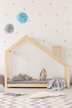 Cadru pat din lemn de pin, în formă de căsuță Adeko Mila DMS, 120 x 200 cm Teen Bedroom Designs, Kids Bedroom, Toddler House Bed, Toddler Rooms, Teepee Bed, Barn Bedrooms, Bed Price, Cottage Lighting, Wood Beds