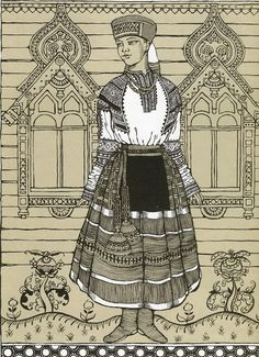 Traditional costume from Ryazan Province, Russia. #Russian #costume #illustrations