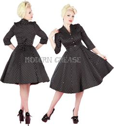 Hearts & Roses London 1950's Housewife Half Sleeve Dress in black stretch cotton with small white polka dots.