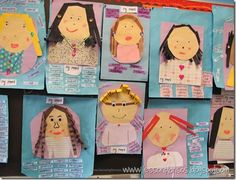 Mother's Day Portraits.  Students had a five dollar budget to purchase the items for their mothers day portraits.  Then they described their mom using adjectives.