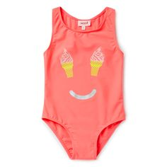 One-piece bather suit features front placement ice-cream face motif print. Available in Sunset Pink. Girl Outfits, Cute Outfits, Beachwear, Swimwear, Kids Swimming, Bathing Suits, Ice Cream, One Piece, Face