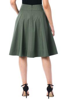 , banded waist skirts, below knee length skirts, Cotton/spandex skirts, Duffle g. Skirt Outfits, Dress Skirt, The Dress, Wool Skirts, Fashion Dresses, Women's Fashion, Clothes For Women, Cotton Spandex, Green Skirts