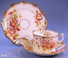 Antique Hand Painted Victorian Fluted Vintage Bone China Tea Cup, Saucer and Tea Plate Trio