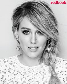 Hilary Duff wears a braided ponytail styled to the side on Redbook Magazine February 2016 issue Photoshoot