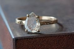 Prong Set Diamond Slice in 14kt Gold - Engagement. $525.00.