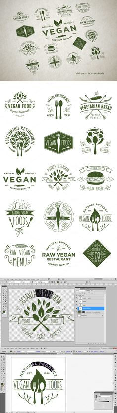 15 Vegetarian Foods Badges by alit design on @creativemarket