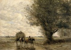 Jean-Baptiste-Camille COROT (French painter, 1796-1875): The Haycart, 1860