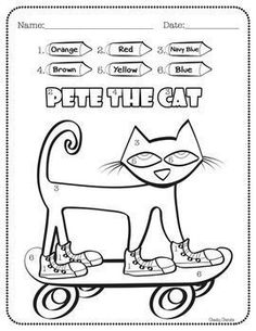 "FREE Activity - Pete the Cat - Activities: Enjoy this fun activity to help your students' creativity after reading Kimberly & James Dean's ""Pete the Cat"" books. - Color by Number with 6 different colors.- Draw and write about Pete- Pete Can and Pete Has- Beginning Of School, First Day Of School, Memorial Day, No David, Pete The Cats, Kindergarten Freebies, Kindergarten Classroom, Cat Activity, Free Activities"