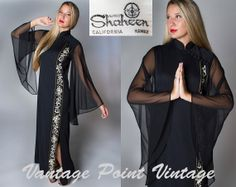 1960's Alfred Shaheen Designer Maxi Dress Gorgeous Sheer Angel Sleeve / Ethnic Gown by shopVPV, $98.00  #shopVPV #vantagepointvintage #vpv