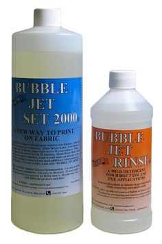 This amazing Bubble Jet Set liquid prepares 100% cotton and 100% silk fabrics to be printed on in an Ink Jet or Bubble Jet printer and the RESULTS ARE PERMANENT!