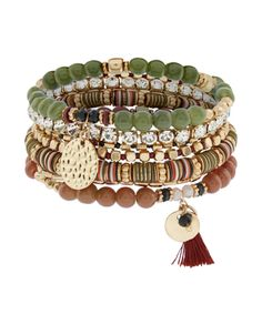 Accessorize | Savannah Disco Bracelets Pack | Green | One Size