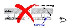 Always place your LED strips behind a lip on drop-down ceilings