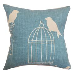 Bring a pop of style to your sofa or favorite reading nook with this charming cotton pillow, featuring a birdcage motif and feather-down fill. Made in the US...