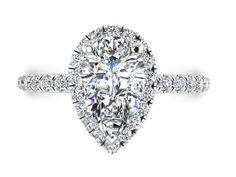 PEAR SHAPE Engagement Diamond Ring, Moissanite Engagement Ring, DIAMOND Wedding Rings, Moissanite Engagement Ring, Diamond Halo Ring by BridalRings on Etsy https://www.etsy.com/listing/472988304/pear-shape-engagement-diamond-ring