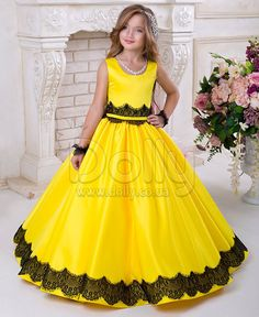 Платье Пенелопа жёлтое Princess Flower Girl Dresses, Baby Girl Party Dresses, Girls Pageant Dresses, Girls Formal Dresses, Flower Girls, Little Girl Dresses, Kids Dress Wear, Kids Gown, Frocks For Girls
