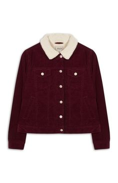 Primark - Burgundy Cord Sherpa Lined Jacket