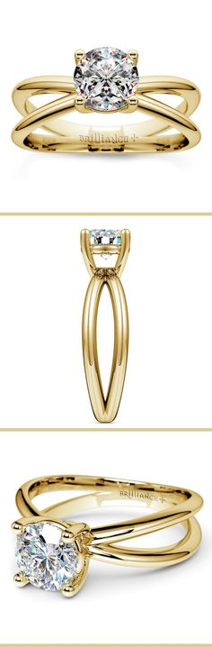 This exceptional yellow gold solitaire engagement ring setting features a crisscross split shank that extends to either side of your stone and meets at the bottom. A yellow gold prong setting secures your choice of center diamond.