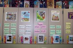 This word wall uses book covers to remind students where each vocabulary word came from.