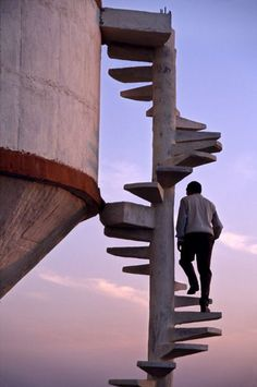 India - open spiral stair. I'm not afraid of heights but what happens if you slip...this makes me so nervous!