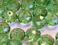 72 8 mm Faceted Crystal Rondelle Beads Green by ThisPurplePoppy