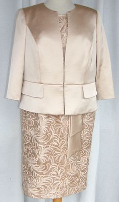 JACQUES VERT GOLD OR CHAMPAGNE LUXURY CORNELLI LACE & SATIN DRESS SATIN JACKET Size 16 Dresses, Satin Dresses, Satin Jackets, Wedding Outfits, Mothers, Brides, Champagne, Daughter, Luxury