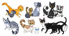Warriors: Fire and Ice  by FennecSilvestre WARRIORS:  Left to Right Top Row  Fireheart and Cinderpaw, Graystripe and Brackenpaw, Ravenpaw and Barley. Bottom Row: Silverstream, Princess and Cloudkit, Tallstar and Deadfoot  ON DeviantArt