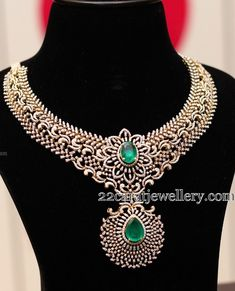 Latest Diamond Necklace by Manepally - Jewellery Designs Emerald Jewelry, Diamond Jewelry, Gold Jewelry, Fine Jewelry, Emerald Diamond, Pearl Diamond, Jewellery, Diamond Necklace Set, Emerald Necklace