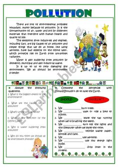 Pollution -reading Worksheet - Free Esl Printable Worksheets images ideas from Worksheets Ideas Social Studies Worksheets, Science Worksheets, Reading Worksheets, School Worksheets, Printable Worksheets, Reading Comprehension For Kids, Comprehension Activities, Causes Of Air Pollution, Water Pollution