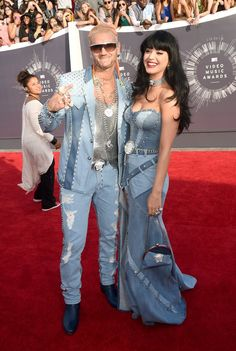 Pin for Later: The Amazing 2014 Award Show Snaps You Probably Forgot About  At the VMAs, Riff Raff and Katy Perry paid homage to an iconic fashion moment from Britney Spears and Justin Timberlake.