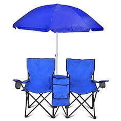 Camping Chairs - Portable Folding Picnic Double Recline Chair W Umbrella Table Cooler Beach Camping Chair Stadium Seat * Learn more by visiting the image link.