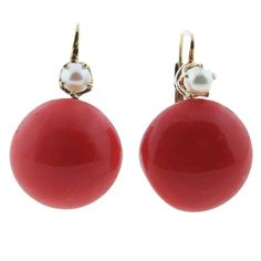 Victorian Natural Coral and Pearl Button Earrings | From a unique collection of vintage dangle earrings at https://www.1stdibs.com/jewelry/earrings/dangle-earrings/