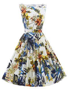 Print floral 50s 60s Vintage dresses Audrey Hepburn Sleeveless 2016 new style summer retro dress Vestidos robe womens clothing