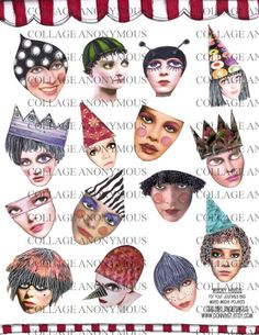 Wacky Heads Digital Collage Sheet from donna67 etsy shop