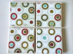 Ceramic Tile Coaster in Multi Color Circle Pattern Set of Four | ClaireMDesigns - Housewares on ArtFire