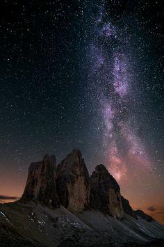 Night Sky: Milky way over alps in Lavaredo´s valley