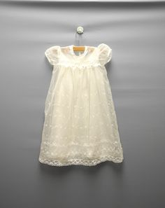 Vintage Baby Clothes, 1950's White Chiffon and Lace Baby Girl Christening Gown, Vintage White Christening Gown, Size 6 Months