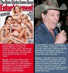 Q:  The REAL Q is why do Republican's agree with Ted Nugent and celebrate his anti-USA President stance while they tore down the Dixie Chicks for less?    A:  They are not honest with themselves or others.