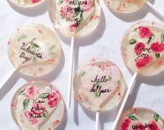 3 rosa natural con sabor a medida piruletas rosas pintadas