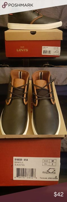 LEVI'S Banks UI men's shoes Size 8 Brand new and in original box Levi's Banks UI Brown and Tan shoes. Men's Size 8. Levis Shoes Chukka Boots