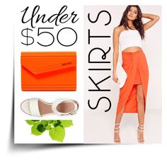 """""""Fab Skirt Under 50$"""" by groove-muffin ❤ liked on Polyvore featuring Missguided, BEA and Jimmy Choo"""
