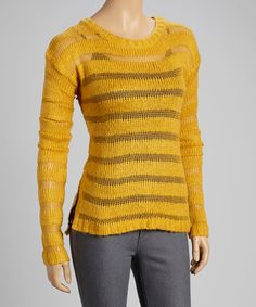 Take a look at this Mustard Sheer-Stripe Sweater by Yoki on #zulily today!