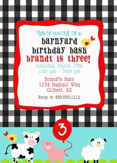 Printable Party Invitation - Farm Animals Birthday Party or Baby Shower