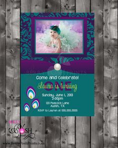 @Rachel Bailey First Birthday Peacock Invitation by BerryPoshPrints on Etsy, $12.75