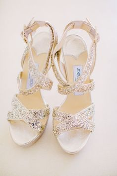 Sparkly gold strappy Jimmy Choos - how gorgeous!! Perfect wedding shoe or holiday party shoe.