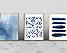 Abstract Watercolor Prints Set of 3 Paintings Indigo Blue Navy Wall Art Dots Stripes Dashes Brushstrokes Paint Strokes Minimalist art Boho