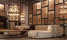 Industrial influence in the home décor dramatic gallery wall & lighting