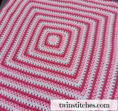 """The Wobbly Squares Blanket is a square v-stitch blanket made with double crochet together stitches instead of traditional plain double crochet pattern. The dc2tog (double crochet together) pattern is addicting and soothing to use and creates a lovely """"wobbly"""" square pattern."""